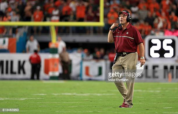 Head coach Jimbo Fisher of the Florida State Seminoles looks on during a game against the Miami Hurricanes at Hard Rock Stadium on October 8 2016 in...