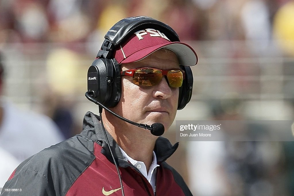 Head coach <a gi-track='captionPersonalityLinkClicked' href=/galleries/search?phrase=Jimbo+Fisher&family=editorial&specificpeople=4505734 ng-click='$event.stopPropagation()'>Jimbo Fisher</a> of the Florida State Seminoles looks on before playing against the Maryland Terrapins at Doak Campbell Stadium on Bobby Bowden Field on October 5, 2013 in Tallahassee, Florida. The eightth-ranked Florida State Seminoles defeated the 25th-ranked Maryland Terrapins 63-0.