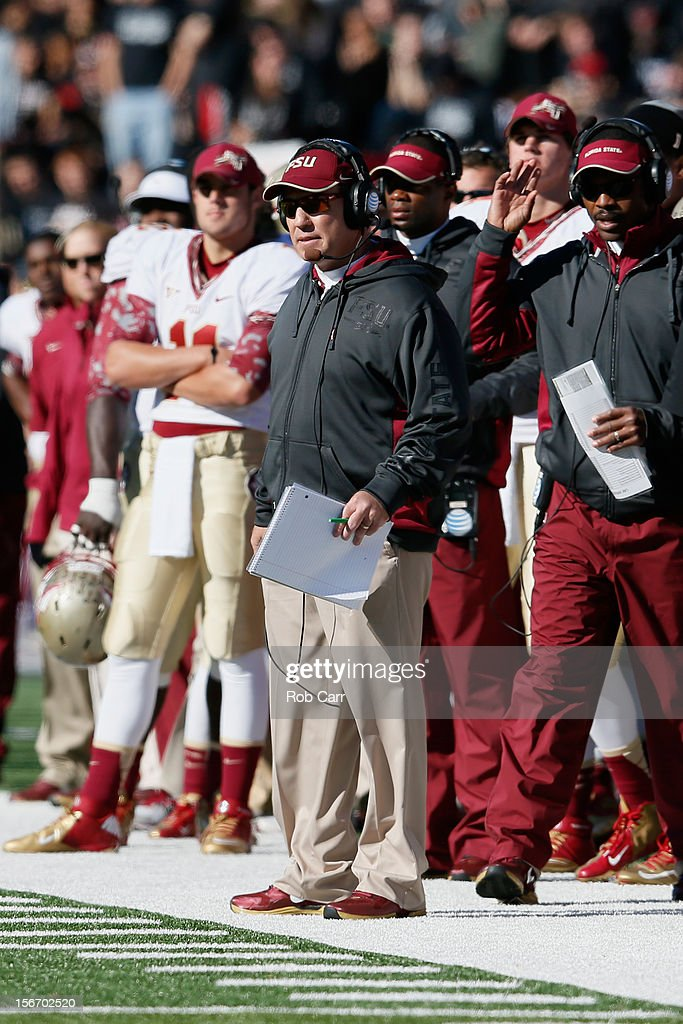 Head coach Jimbo Fisher of the Florida State Seminoles looks on during the first half of the Seminoles 41-14 win over the Maryland Terrapins at Byrd Stadium on November 17, 2012 in College Park, Maryland.