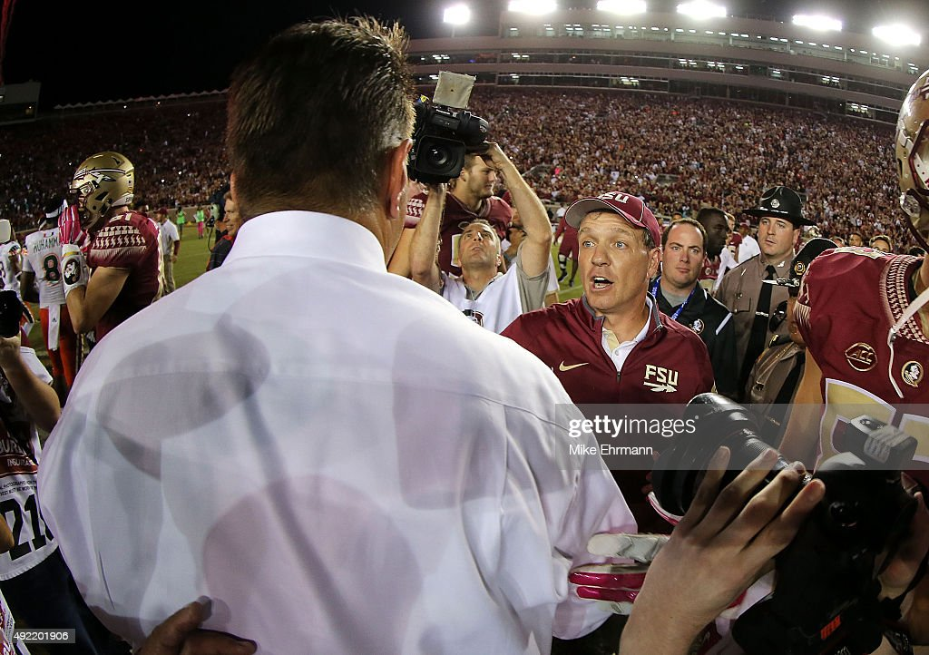 Head coach <a gi-track='captionPersonalityLinkClicked' href=/galleries/search?phrase=Jimbo+Fisher&family=editorial&specificpeople=4505734 ng-click='$event.stopPropagation()'>Jimbo Fisher</a> of the Florida State Seminoles shakes hands with head coach <a gi-track='captionPersonalityLinkClicked' href=/galleries/search?phrase=Al+Golden&family=editorial&specificpeople=6315572 ng-click='$event.stopPropagation()'>Al Golden</a> of the Miami Hurricanes following a game at Doak Campbell Stadium on October 10, 2015 in Tallahassee, Florida.