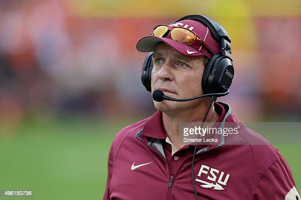 Head coach Jimbo Fisher of the Florida State Seminoles watches on during their game against the Clemson Tigers at Memorial Stadium on November 7 2015...