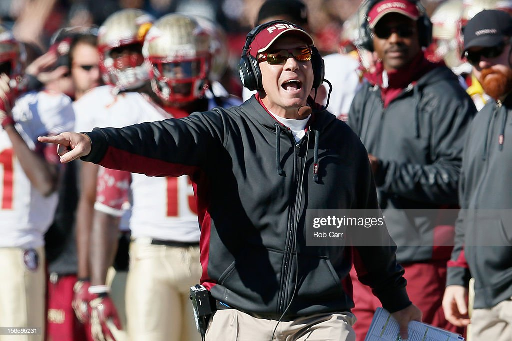 Head coach <a gi-track='captionPersonalityLinkClicked' href=/galleries/search?phrase=Jimbo+Fisher&family=editorial&specificpeople=4505734 ng-click='$event.stopPropagation()'>Jimbo Fisher</a> of the Florida State Seminoles yells at an official during the first half of the Seminoles 41-14 win over the Maryland Terrapins at Byrd Stadium on November 17, 2012 in College Park, Maryland.