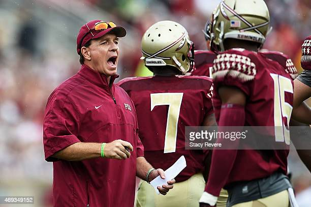 Head coach Jimbo Fisher of the Florida State Seminoles yells to his team during Florida State's Garnet and Gold spring game at Doak Campbell Stadium...