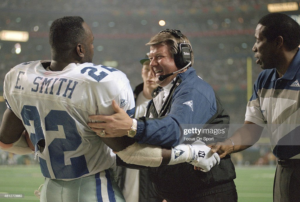 head-coach-jimmy-johnson-and-emmitt-smith-of-the-dallas-cowboys-as-picture-id451272880
