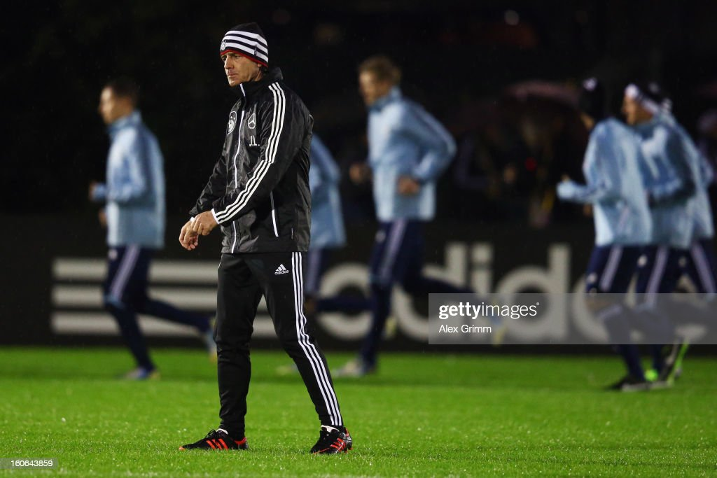 Head coach Joachim Loew and players attend a Germany training session at Commerzbank-Arena on February 4, 2013 in Frankfurt am Main, Germany.