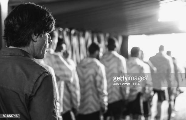 Head coach Joachim Loew and players of Germany wait to walk out of the tunnel for the FIFA Confederations Cup Russia 2017 Group B match between...