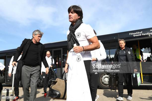 Head coach Joachim Loew arrives with the team at Duesseldorf Airport to depart for the FIFA 2018 World Cup Qualifier between Azerbaijan and Germany...