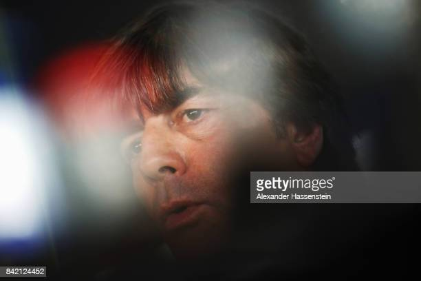 Head coach Joachim Loew attends a Germany press conference at MercedesBenzMuseum ahead of their FIFA World Cup Russia 2018 Group C Qualifier against...