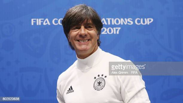 Head coach Joachim Loew attends a Germany press conference at Fisht Olympic stadium ahead of their FIFA Confederations Cup Russia 2018 semifinal...