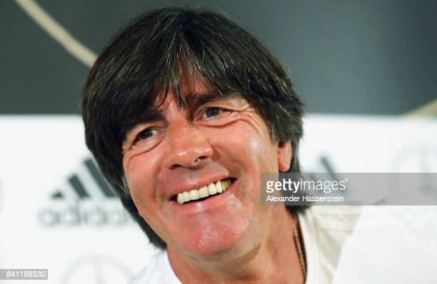 Head coach Joachim Loew attends a Germany press conference at the Marriott hotel ahead of their FIFA World Cup Russia 2018 Group C Qualifier against...