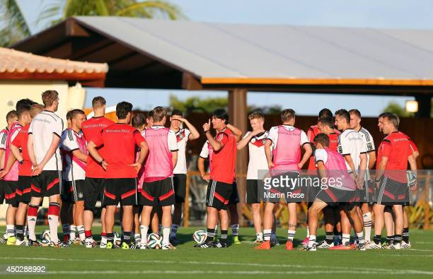Head coach Joachim Loew gives instructions during the German National team training session at Campo Bohia on June 8 2014 in Santo Andre Brazil