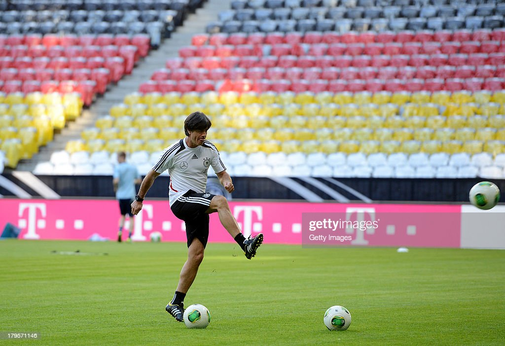 Head Coach <a gi-track='captionPersonalityLinkClicked' href=/galleries/search?phrase=Joachim+Loew&family=editorial&specificpeople=215315 ng-click='$event.stopPropagation()'>Joachim Loew</a> in action during a Germany Training Session at Allianz Arena Munich on September 5, 2013 in Munich, Germany.