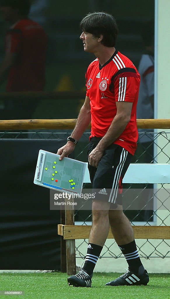 Head coach Joachim Loew in action during the German National team training at Campo Bahia on June 14, 2014 in Santo Andre, Brazil.