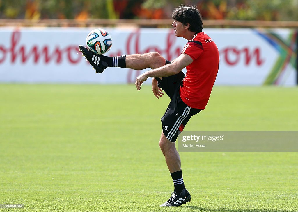 Head coach <a gi-track='captionPersonalityLinkClicked' href=/galleries/search?phrase=Joachim+Loew&family=editorial&specificpeople=215315 ng-click='$event.stopPropagation()'>Joachim Loew</a> in action during the German National team training at Campo Bahia on June 14, 2014 in Santo Andre, Brazil.