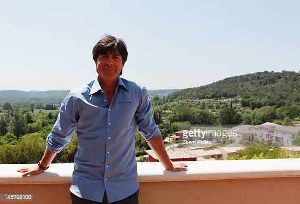 Head coach Joachim Loew is pictured prior to the Germany press conference at Hotel Chateau de Camiole on May 25 2012 in Callian France