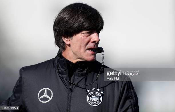 Head coach Joachim Loew is seen during a Germany training session on March 24 2017 in Kamen Germany