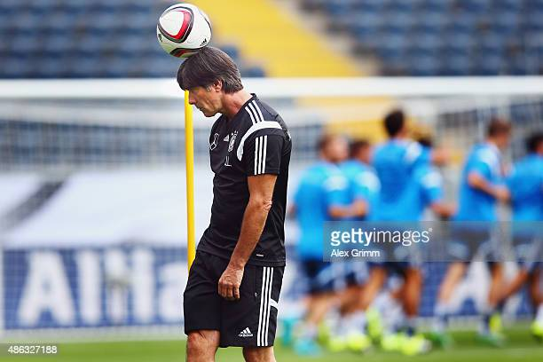 Head coach Joachim Loew juggles with the ball during a Germany training session at CommerzbankArena on September 3 2015 in Frankfurt am Main Germany