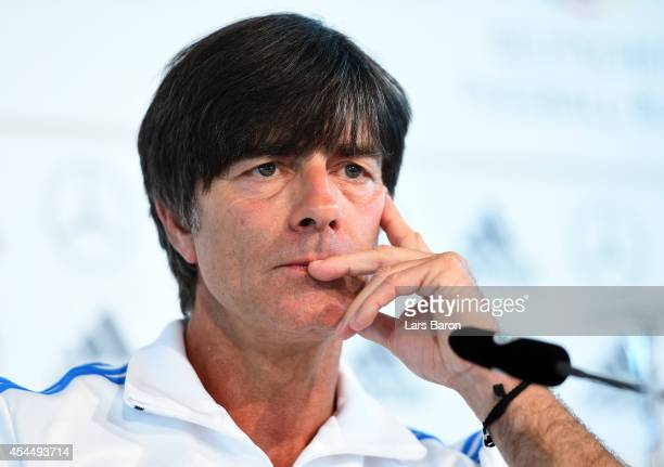 Head coach Joachim Loew looks on during a Germany press conference at Mercedes Benz on September 2 2014 in Duesseldorf Germany