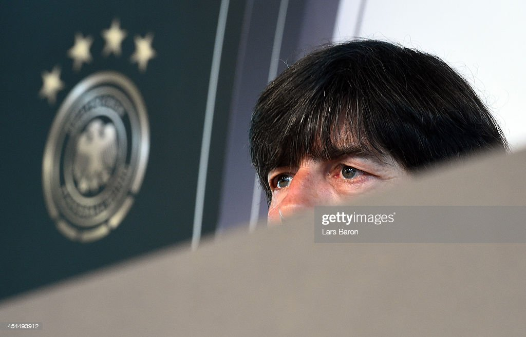 Head coach <a gi-track='captionPersonalityLinkClicked' href=/galleries/search?phrase=Joachim+Loew&family=editorial&specificpeople=215315 ng-click='$event.stopPropagation()'>Joachim Loew</a> looks on during a Germany press conference at Mercedes Benz on September 2, 2014 in Duesseldorf, Germany.