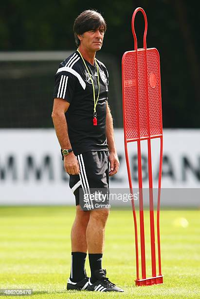 Head coach Joachim Loew looks on during a Germany training session at 'Kleine Kampfbahn' training ground on September 2 2015 in Frankfurt am Main...