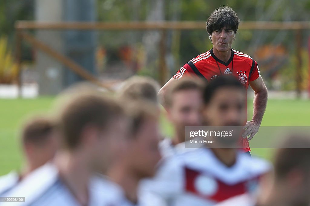 Head coach <a gi-track='captionPersonalityLinkClicked' href=/galleries/search?phrase=Joachim+Loew&family=editorial&specificpeople=215315 ng-click='$event.stopPropagation()'>Joachim Loew</a> looks on during the German National team training at Campo Bahia on June 14, 2014 in Santo Andre, Brazil.