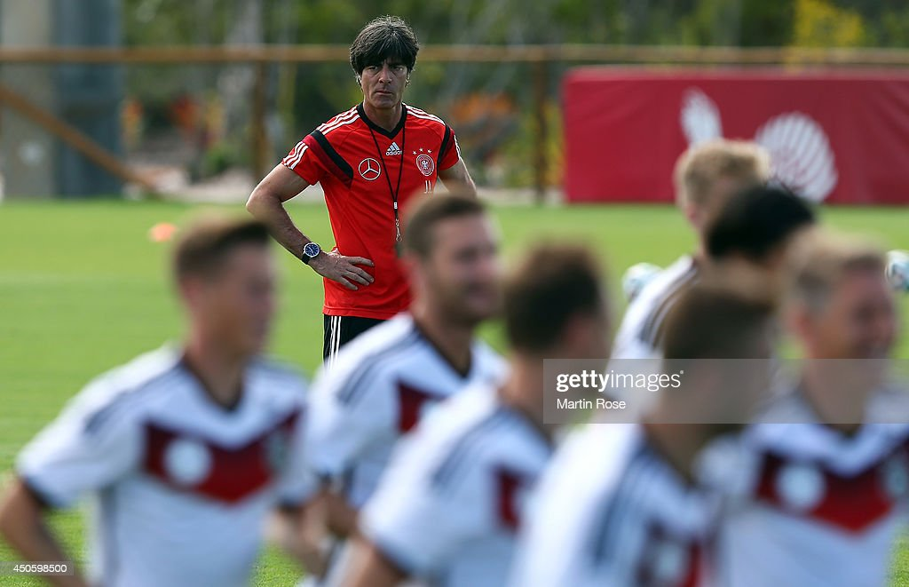 Head coach Joachim Loew looks on during the German National team training at Campo Bahia on June 14, 2014 in Santo Andre, Brazil.
