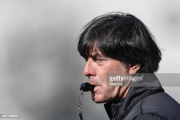 Head coach Joachim Loew looks on during training of German national team ahead of the FIFA World Cup qualification match 2018 against Azerbaijan on...