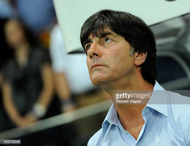 Head coach Joachim Loew looks on prior to the international friendly match between Germany and Argentina at CommerzbankArena on August 15 2012 in...