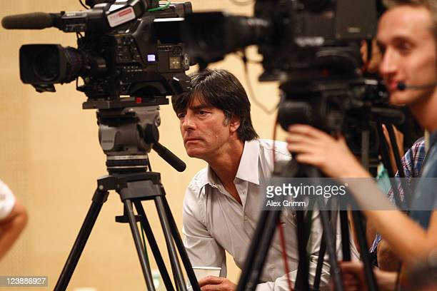 Head coach Joachim Loew of Germany attends a Germany press conference ahead of their friendly match against Poland at Baltic Arena on September 5...
