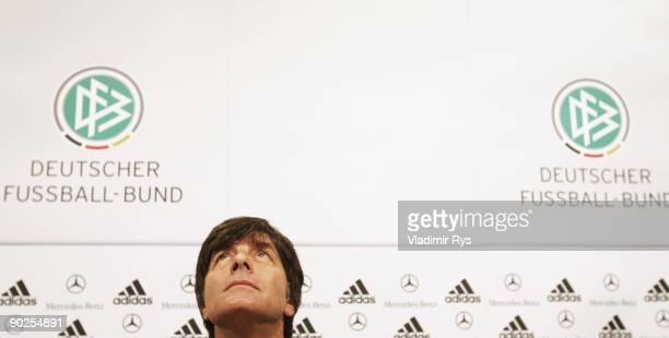 Head coach Joachim Loew of Germany attends the German National Team press conference at Cologne's Guerzenich on September 1 2009 in Cologne Germany
