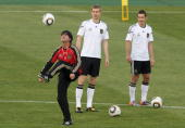Head coach Joachim Loew of Germany juggles with the ball during training session at Super stadium on June 8 2010 in Pretoria South Africa