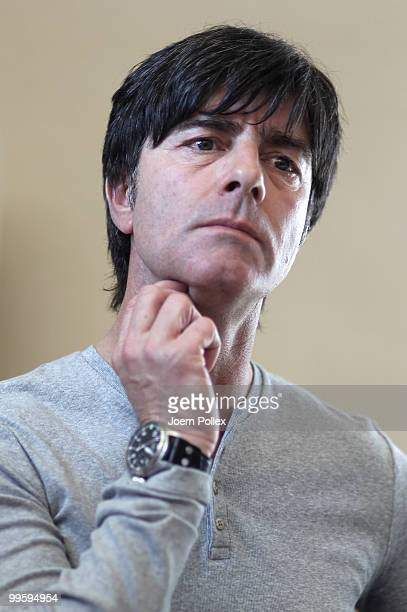Head coach Joachim Loew of Germany looks on during a press conference after the German National Team training session at Verdura Golf and Spa Resort...