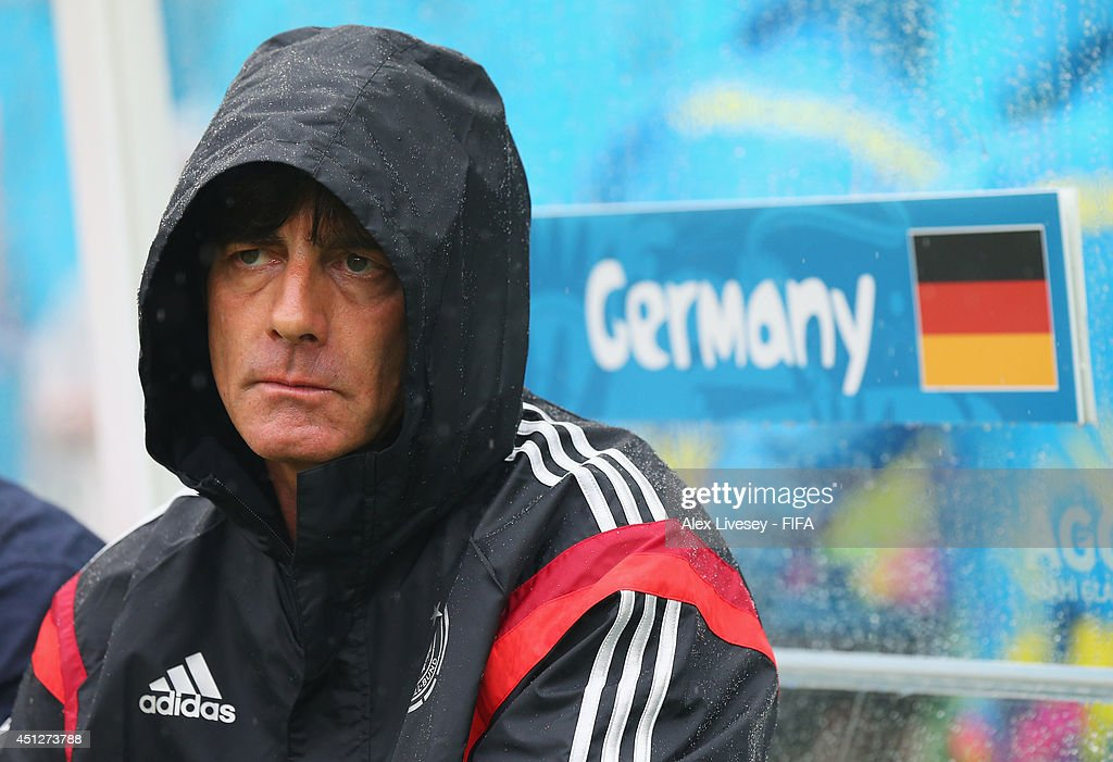 Head coach <a gi-track='captionPersonalityLinkClicked' href=/galleries/search?phrase=Joachim+Loew&family=editorial&specificpeople=215315 ng-click='$event.stopPropagation()'>Joachim Loew</a> of Germany looks on prior to the 2014 FIFA World Cup Brazil Group G match between USA and Germany at Arena Pernambuco on June 26, 2014 in Recife, Brazil.