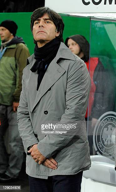Head coach Joachim Loew of Germany looks on prior to the Euro 2012 Qualifier Group A match between Germany and Belgium at Esprit Arena on October 11...