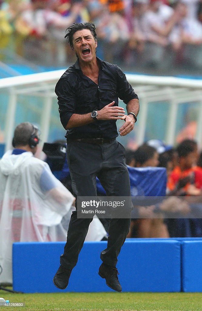Head coach <a gi-track='captionPersonalityLinkClicked' href=/galleries/search?phrase=Joachim+Loew&family=editorial&specificpeople=215315 ng-click='$event.stopPropagation()'>Joachim Loew</a> of Germany reacts during the 2014 FIFA World Cup Brazil group G match between the United States and Germany at Arena Pernambuco on June 26, 2014 in Recife, Brazil.