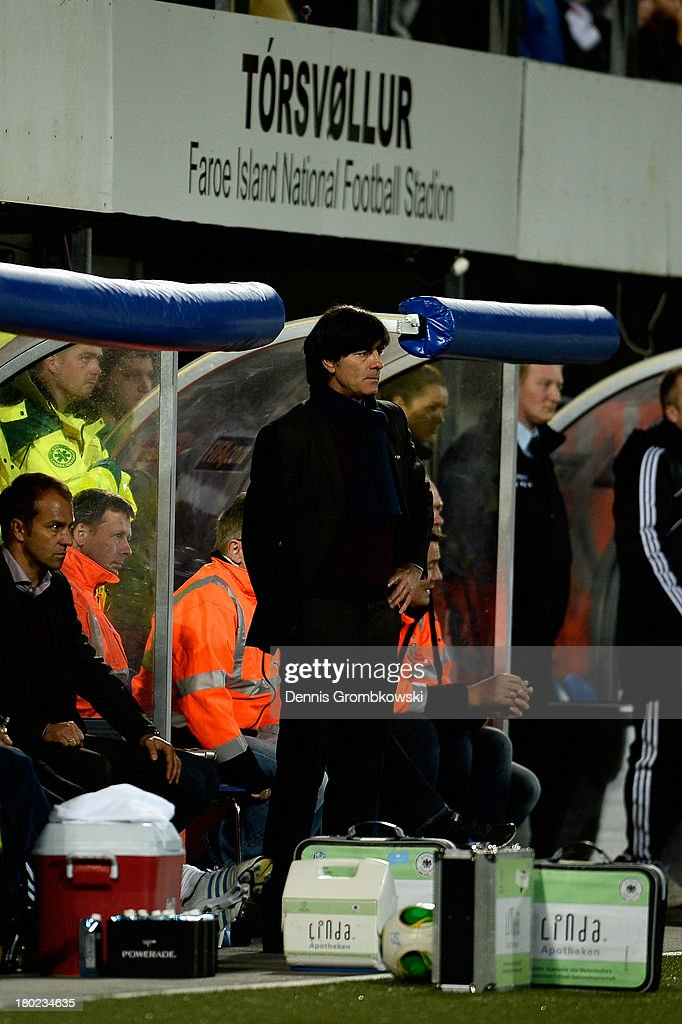 Head coach Joachim Loew of Germany reacts during the FIFA 2014 World Cup Qualifier match between Faeroe Islands and Germany on September 10, 2013 in Torshavn, Denmark.