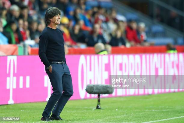 Head coach Joachim Loew of Germany reacts during the international friendly match between Denmark v Germany on June 6 2017 in Brondby Denmark