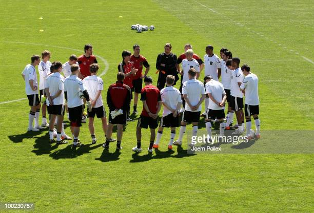 Head coach Joachim Loew of Germany talks to his players during a training session at Sportzone Rungg on May 22 2010 in Appiano sulla Strada del Vino...
