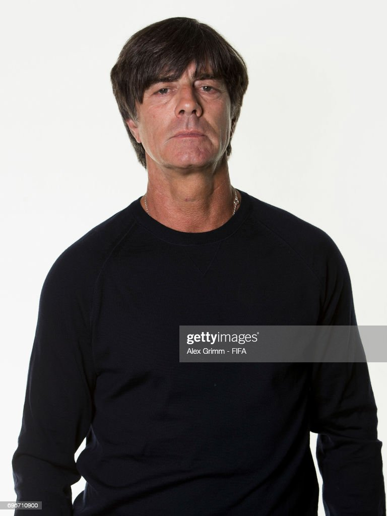Head coach Joachim Loew poses for a picture during the Germany team portrait session on June 16, 2017 in Sochi, Russia.