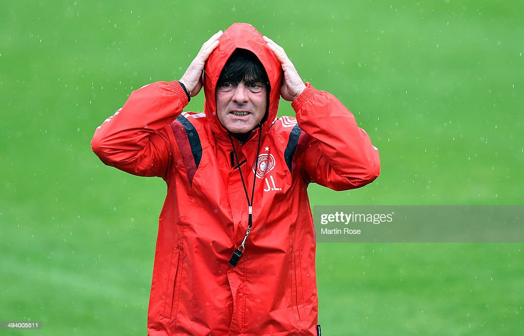 Head coach <a gi-track='captionPersonalityLinkClicked' href=/galleries/search?phrase=Joachim+Loew&family=editorial&specificpeople=215315 ng-click='$event.stopPropagation()'>Joachim Loew</a> reacts during the German National team training session at St.Martin training ground on May 27, 2014 in St. Martin in Passeier, Italy.