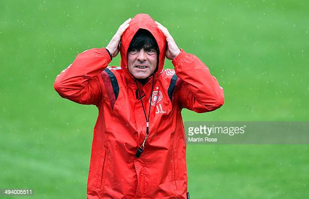 Head coach Joachim Loew reacts during the German National team training session at StMartin training ground on May 27 2014 in St Martin in Passeier...