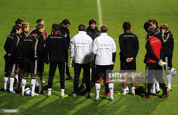Head coach Joachim Loew speaks to the team during the Germany training session at Rambergsvall Stadium on November 15 2010 in Gothenburg Sweden