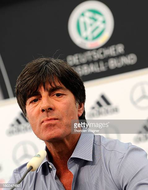 Head coach Joachim Loew talks to the media during a press conference at Mercedes sportclub at CommerzbankArena on August 13 2012 in Frankfurt am Main...