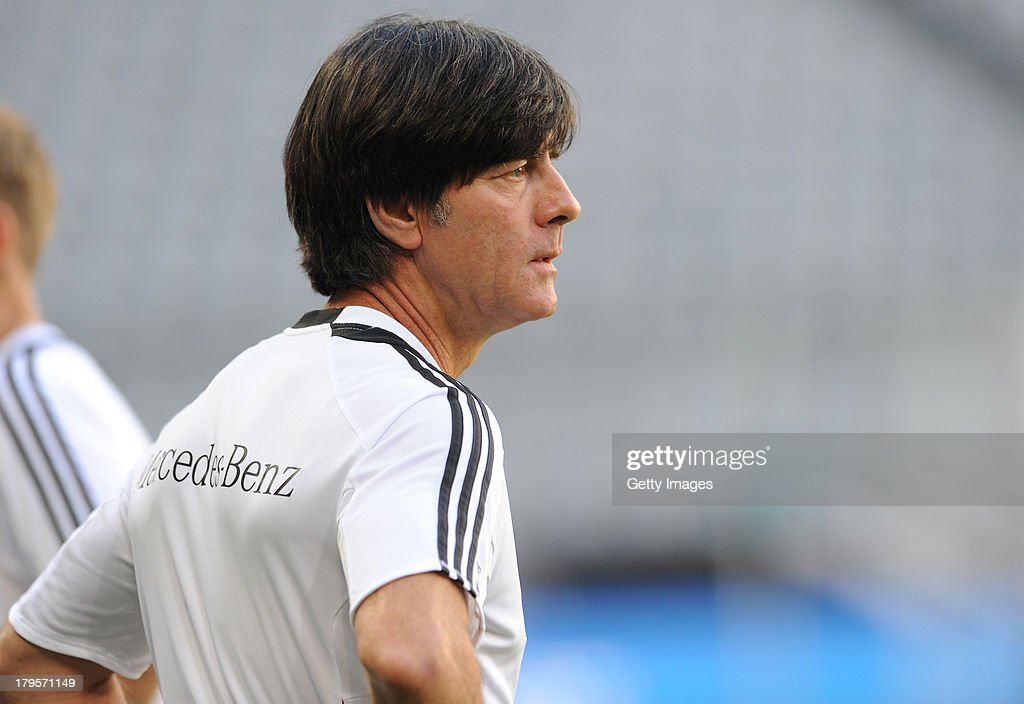 Head Coach Joachim Loew watches his players during a Germany Training Session at Allianz Arena Munich on September 5, 2013 in Munich, Germany.
