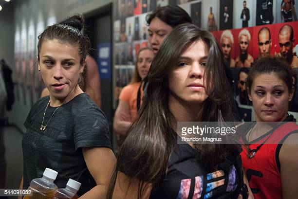 Head coach Joanna Jedrzejczyk and head coach Claudia Gadelha prepare to head into the gym during the filming of The Ultimate Fighter Team Joanna vs...