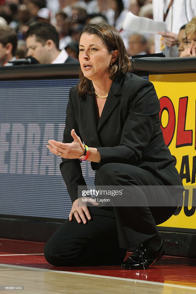 Head coach Joanna P. McCallie of the Duke Blue Devils looks on during a women's college basketball game against the Maryland Terrapins on February 24, 2013 at the Comcast Center in College Park, Maryland. The Blue Demons won 75-59.