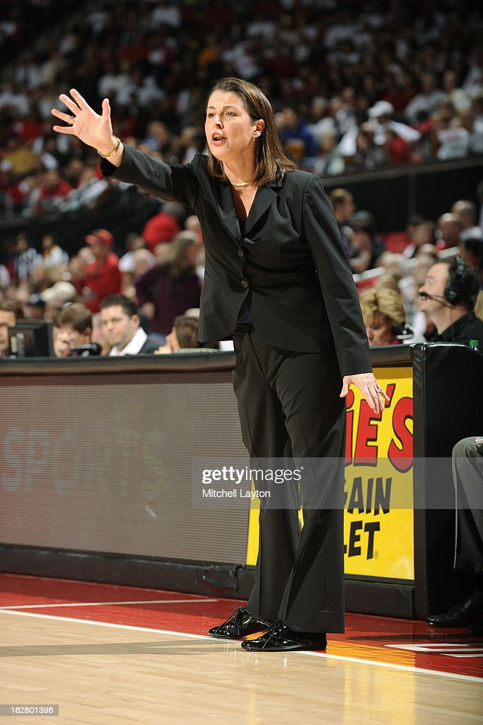 Head coach Joanna P. McCallie of the Duke Blue Devils reacts to a call during a women's college basketball game against the Maryland Terrapins on February 24, 2013 at the Comcast Center in College Park, Maryland. The Blue Demons won 75-59.