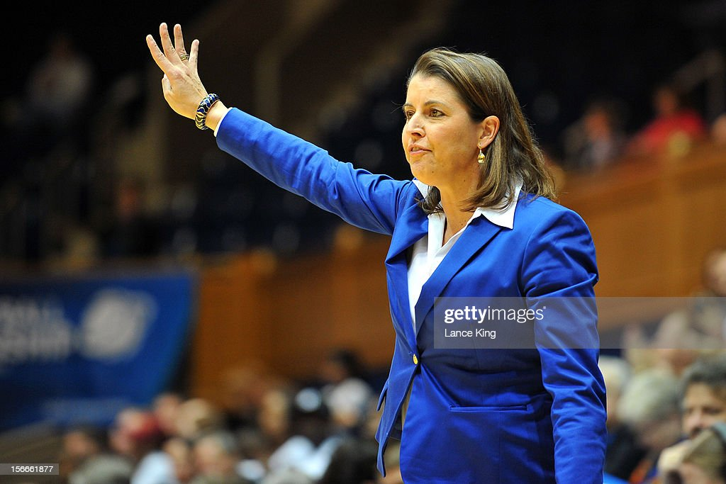 Head Coach Joanne P. McCallie of the Duke Blue Devils calls a play from the sideline against the Iona Gaels at Cameron Indoor Stadium on November 18, 2012 in Durham, North Carolina. Duke defeated Iona 100-31.