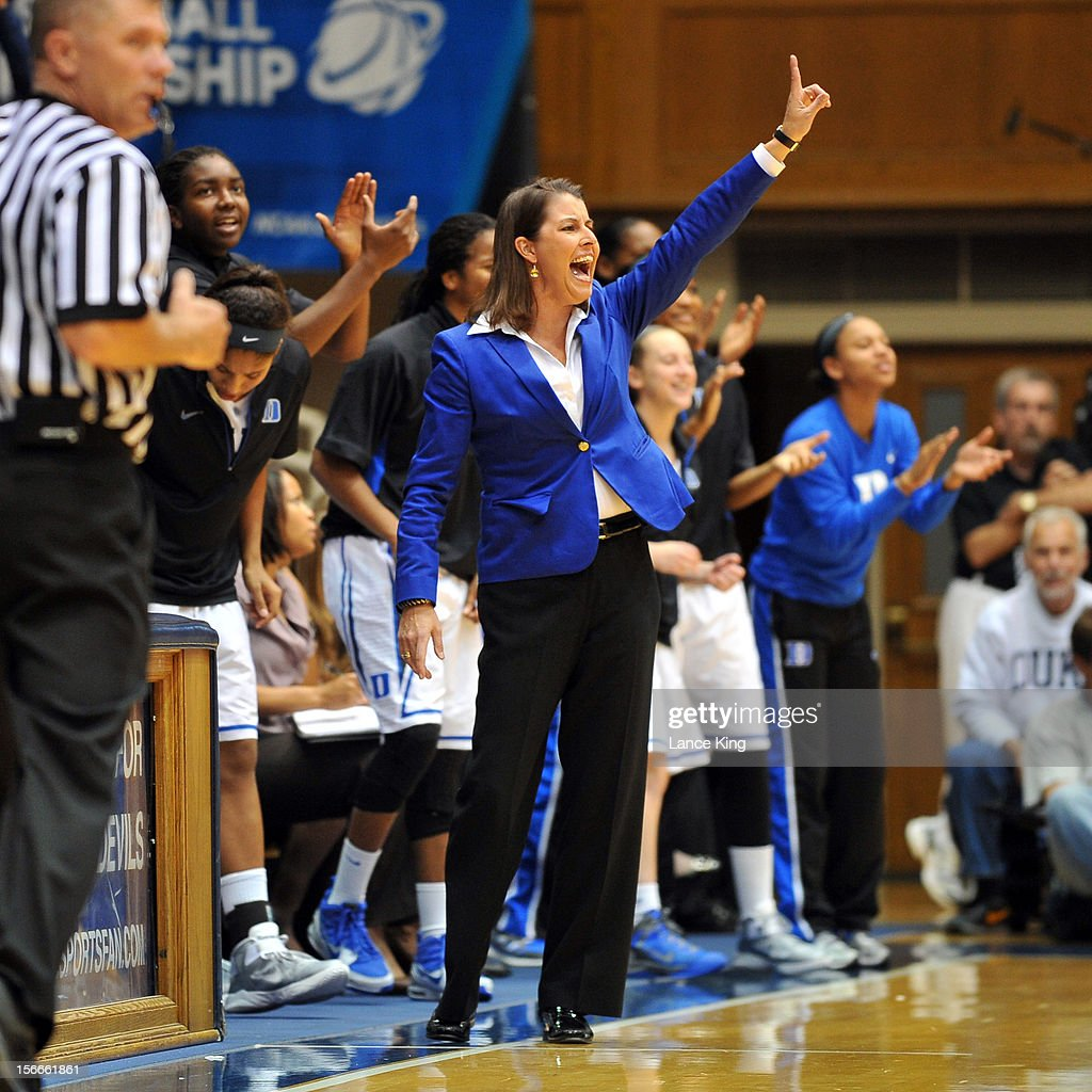 Head Coach Joanne P. McCallie of the Duke Blue Devils reacts from the sideline against the Iona Gaels at Cameron Indoor Stadium on November 18, 2012 in Durham, North Carolina.