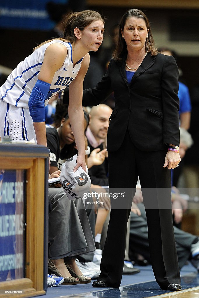 Head Coach Joanne P. McCallie of the Duke Blue Devils talks with Allison Vernerey #43 during a game against the North Carolina Tar Heels at Cameron Indoor Stadium on March 3, 2013 in Durham, North Carolina. Duke defeated North Carolina 65-58.